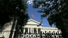 Santiago Foreign Affairs with flag and fence c Stock Footage
