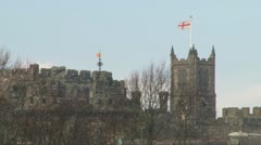 English Castle and Church Stock Footage