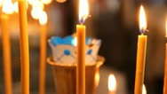 Wax candles in the church. The Russian Orthodox Church Stock Footage