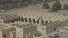 The State Mosque of Qatar traffic car Doha people commute landmark iconic aerial Stock Footage