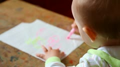 Beautiful little girl and picture Stock Footage
