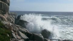 Waves crashing against rocks at Bantry Bay, Cape Town - stock footage