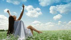 Relaxation Under Blue Sky Stock Footage