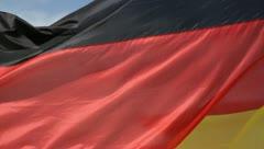 German flag waves in wind Stock Footage