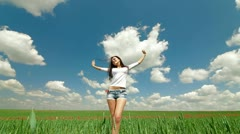 Happy Young Woman In A Field Stock Footage