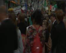 Fast motion of crowed street drottninggatan in Stockholm, Sweden Stock Footage