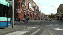 Haymarket Sydney Market City Hay Street 03 tram Stock Footage
