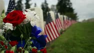 Dolly Rising Crane, Flowers and Flags, Memorial Day Military Cemetery Stock Footage