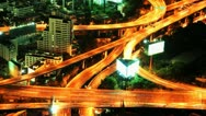 Stock Video Footage of Expressway in the city. Night time lapse Bangkok Thailand