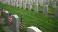 Memorial Day Military Tombstones with Flags Stock Footage