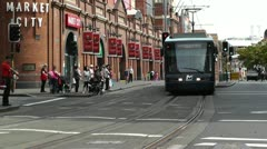 Haymarket Sydney Market City Hay Street 06 tram Stock Footage