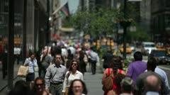 Crowd Walking street sidewalk urban New York City 24P Stock Footage