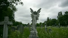 Broken Angel Statue Spooky Cemetery Stock Footage