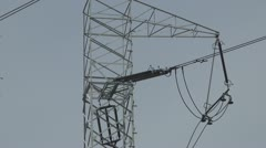 Electricity Pylon, Commercial Energy Production, Cables, High Voltage Power - stock footage