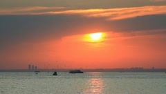 Marmara sea on sunset Stock Footage