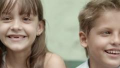 Portrait of happy children smiling and having fun Stock Footage