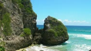 Stock Video Footage of beautiful caribbean beach and rock 1 - puerto rico