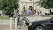 Stock Video Footage of Stock Footage - San Antonio Texas Alamo street view - Famiy passes by