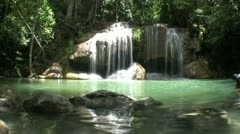Erawan Waterfall In Thailand-Slow Mo-Low Angle Stock Footage