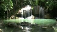 Stock Video Footage of Erawan Waterfall In Thailand-Slow Mo-Low Angle