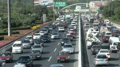 Massive traffic jam in Chinese city, transportation in China Stock Footage