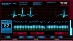 Futuristic Heart Monitor Screen Background Stock Footage