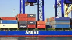 Crane lifts up the container Stock Footage