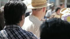Stock Footage - Tourists Downtown waiting in line Stock Footage