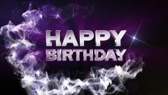 HAPPY BIRTHDAY Text in Particle (Double Version) Blue - HD1080 Stock Footage