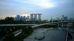 Sunset over singapore with fade out Stock Footage