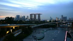 Sunset over Singapore from Marina Barrage Stock Footage