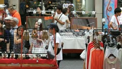 People shopping on downtown Myeongdong street Stock Footage