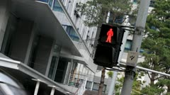 Downtown crosswalk sign Stock Footage