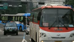 Buses on bus-only lane in Seoul Stock Footage