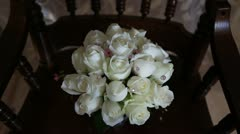 Wedding bouquet of white roses. Stock Footage