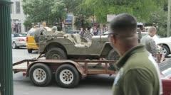 Stock Footage - San Antonio Texas Downtown - WWII Army Jeep Stock Footage