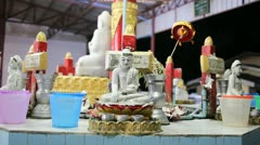 Buddha inside Chauk Htatt Ghyee pagoda in Yangon Stock Footage
