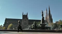 Sydney Hyde Park Saint Marys Cathedral Archibald Fountain 01 Stock Footage