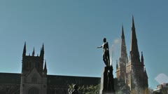 Stock Video Footage of Sydney Hyde Park Saint Marys Cathedral Archibald Fountain 02