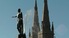 Sydney Hyde Park Saint Marys Cathedral Archibald Fountain 03 Stock Footage