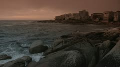 Wide pan of Bantry Bay at sunset Stock Footage