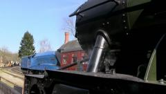 Steam train Bittern pulling into Highley station at Severn Valley Railway Stock Footage