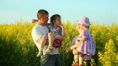 Baby in the flowers. Laugh. Stock Footage