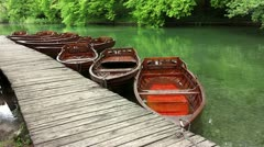 Boats parking at the boat dock in National Park Plitvice Stock Footage