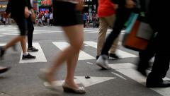 Anonymous crowds on crosswalk Stock Footage