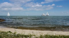Seashore and sailing boats - stock footage