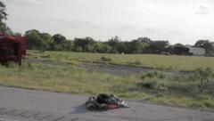 Stock Footage - Emergency Units at Burning Car on HWY - Moving Vehicle Shot - stock footage