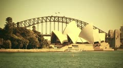 Stock Video Footage of Sydney Opera House and Harbour Bridge 70s old film stylized 01