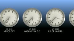 Time Zones - Clock 38 (HD) Stock Footage