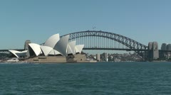 Sydney view to the Harbour Bridge and Opera House 03 Stock Footage